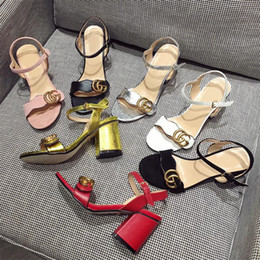Wholesale Leather Soft Shoes Sandals - 2017 Spring Women's Genuine Leather Sandals Coarse With High-heeled Shoes European Wind Metal Buckle Mj
