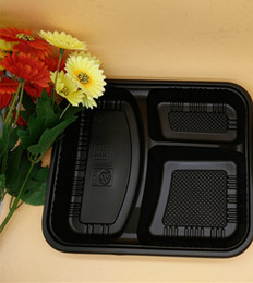 Wholesale Disposable Lunch - fedex send Disposable Food Containers with Lids Bento Box Lunch Tray with Cover 3 Compartment FAST FOOD LUNCH BOX