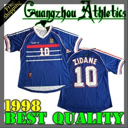 Wholesale Men S Shirts Free Shipping - 1998 France World Cup Home Jersey best quality shirt Free shipping Zidane Henry Jerseys