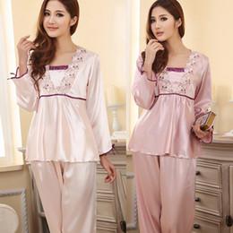 Wholesale Womens Silk Lace Lingerie - Wholesale- Womens Silk Sleepwear Lingerie Lace Long-sleeved Pants Suit Pajamas Nightdress