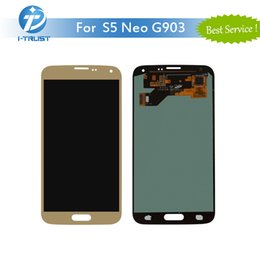 Wholesale Galaxy S4 Replacement Parts - 100% Tested Working Adjustable LCD For Samsung Galaxy S5 NEO G903 Touch Screen Digitizer Replacement Parts Color Golden With Free Shipping