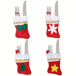 Wholesale Wedding Gift Cutlery - Wholesale- 28pcs Xmas Wedding Party Birthday Gift Dinner Dinning Christmas Table Decorations Tableware Set Christmas Stockings Cutlery bag