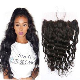 Wholesale Malaysian Baby Curly Hair - Malaysian Lace Frontal Closure with Baby Hair Loose Wave Curly Hair 13x4 Ear to Ear Lace Frontal Natural Color Unprocessed Human Hair