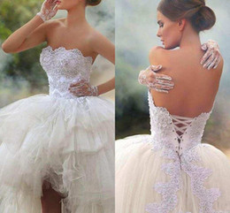 Wholesale Strapless Asymmetrical Organza Wedding Dress - Said Mhamad High Low New Wedding Dresses 2017 Strapless Vintage Lace with Beads Lace up Back Corset Vestido De Novia Summer Bridal Gowns