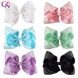 Wholesale Solid Hair Bow - 8 Inch Big Diamond Hair Bow With Clip Colorful Rhinestone Hair Bow For Girl JOJO BOW
