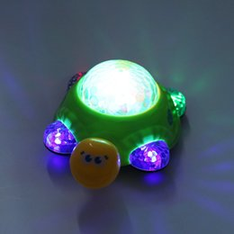 Wholesale Turtle Lamp Kids - Wholesale- 2016 Kids Toys Children Electric 3D Turtle Musical Toy Projection Luminous Dynamic Music Crawling Electric Turtle Toy Xmas Gifts