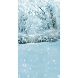 Wholesale Holiday Photography - Winter Snow Covered Trees Outdoor Scenic Photography Backdrops Vinyl Snowflakes White Floor Holiday Forest Photo Shoot Background for Studio