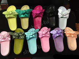 Wholesale Hot Pink Bowtie - (With Box+Dust Bag) Wholesale Hot sale New Women Slippers Fenty Rihanna Bandana Slide Fenty Bow Slide Indoor Sandals Women slide Size 36-41