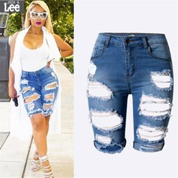 Wholesale Denim Cut Off - Wholesale- S-XXXL 2017 Women Denim Shorts Summer New Slim Skinny Ripped Hole Burrs Cut Off High Waist Knee Length Hot Jeans Plus Size