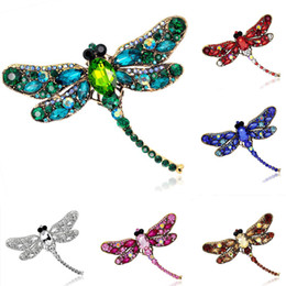 Wholesale Vintage Rhinestone Costume Jewelry - Vintage Full Rhinestone Dragonfly Brooches Pins Multicolors Crystal Animal Costume Pin Breastpin Party Dress Jewelry Birthday Gift