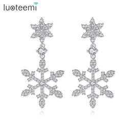 Wholesale Earrings Snowflake Long - New Sale Snow Shape Micro Zircon Paved Long Snowflake Drop Earrings For Women Party Accessories Free Box LUOTEEMI