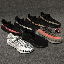 Wholesale Infant Zebra Shoes - New arrival Kanye West Boost 350 V2 BLACK Red Infant Zebra Men Women White Grey Bred Kanye West Running Shoes sneaker