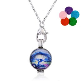 Wholesale Chains For Lockets - Tree of Life Essential Oil Pendant Round Locket with Perfume Film Hollow Hearts On Both Sides Aromatherapy Diffuser Necklace For Women