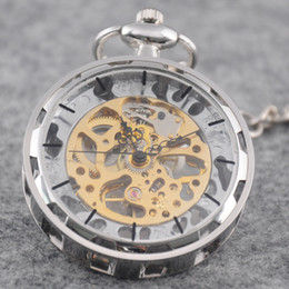 Wholesale Ladies Stainless Steel Skeleton Watch - Wholesale-Classic Silver Stainless Steel Steampunk Gold Skeleton Mens Lady Hand-winding mechanical pocket watch