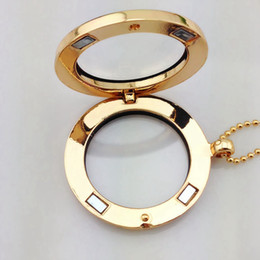 Wholesale Pictures For Lockets - Hot sale 30mm Alloy Round Locket Necklace For Memory Charms DIY Open Album Picture Pendant Necklace For Men and Women