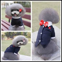 Perro mascota de esmoquin online-Y56 Pet Dog Cat Boda Tuxedo Corbata Ropa Cachorro Masculino Traje de Perro Traje Pequeño Cachorro Mascotas Swallowtail Traje de envío de la gota
