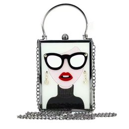 Wholesale Handbag Glasses - Wholesale- New Vintage Acrylic Patchwork Evening Bag Glasses Beauty Metal Clutch Purse Lady Tote Handbag Chain Shoulder Messenger Bag Li728