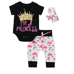 Wholesale Baby Girl Jumpsuit Summer - 2017 INS NEW Baby girl Toddler Summer clothes 3piece set outfits Gold Romper Onesies Jumpsuits + Crown pants + Headband - I'm A Princess