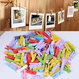 Wholesale Paper Pins - 100 Pcs Random Mini Colored Spring Wood Clips Clothes Photo Paper Peg Pin Clothespin Craft Clips Party Decoration
