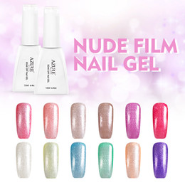 Wholesale Nail Set Up - Azure 12ML Nude Glitter Series Nail Gel Polish White Color Soak Off 24 Colors Glitter UV Gel Nail Colorful make up nail set