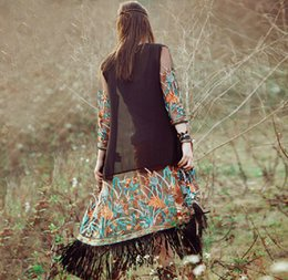 Wholesale Ethnic Shawls - Ethnic Clothing Folk embroidery tassel coat chiffon cardigan Long Shawls Women Casual Cardigan Short Sleeve Chiffon Perspective Cover Up