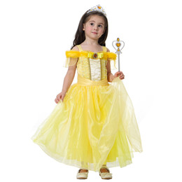ed02261e66c3c8 Girls cute fairy tale princess lace dress belle pricess dress Beauty and  the Beast kids cosplay costume performance party dress for 2-7T