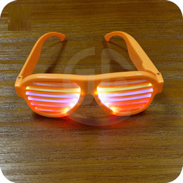 Wholesale Led Light Up Shutter Glasses - music sensitive light up glasses music activated el wire for party dancing club Halloween costumes party LED toys shutter glasses Newfangled