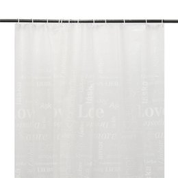 Wholesale White Polyester Shower Curtain - Wholesale- Hot Sale 180x180cm White Fabric Bath Shower Curtain Love Words Design Waterproof with 12 Hooks PEVA Home Bathroom Products
