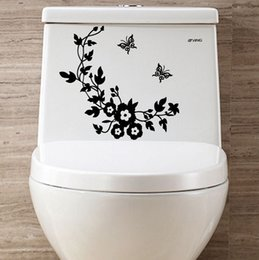 Wholesale Sticker Flowers Butterfly - Carved butterfly flower vine toilet paste stickers multicolor living room decoration living home decoration decorative stickers