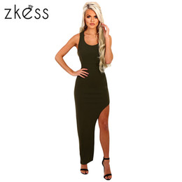 Wholesale Sexy Tight Spandex Dress - Bodycon Sexy Summer Club dresses 2017 Sleeveless Sexy Side Split Pencil Tight Dress Maxi Wrapped Dress Vestido LC61494 17414