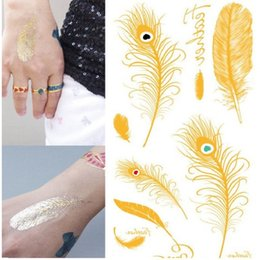 Wholesale Peacock Stickers - Wholesale- Sexy Girls Decoration Peacock Golden Feathers Waterproof Temp Tattoo Stickers #r133