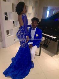 Black Girl 2017 Royal Blue Lace Prom Vestidos de noche Mermaid Bateau Illusion Long Sleeves formal Vestidos de noche árabe desde fabricantes