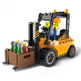 Wholesale Road Roller Toys - City Series Road Roller Forklift Truck Tractor Sweeper Truck Building Blocks DIY Bricks Kids Toys for Children Gift