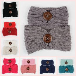 Wholesale Baby Hair Headband Winter - Hot Sale winter wool knitted headband sets baby girls and Mummy hair head band wrap turban headwear with button hair accessories Bohemia