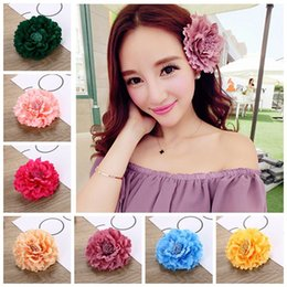 Wholesale African Fabric Shoes - Holiday Boho Silk Flower Hairclip Straw Hat Peony Flower Barrette Hair Accessories Fabric Peony Floral Headwear for Bag and Shoes Decoration