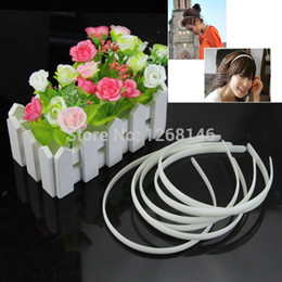 Wholesale Hair Tool Band - Wholesale- 60pc White Fashion Plain Lady Plastic Hair Band Headband No Teeth Hair DIY Tool
