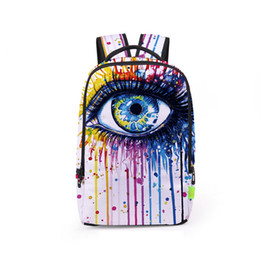 Wholesale Backpack Colorful - Colorful Eye Paint Splatter 3D Printing Unisex Laptop Backpacks Teenager School Student Backpack Boy Girl BAGS BB043BL