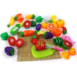 Wholesale Girls Play Kitchen - 24Pcs Set Plastic Play Toy Fruit and Vegetables Cutting Kids Pretend Play Educational Toys Cooking Kitchen Toys for Girls VE0126