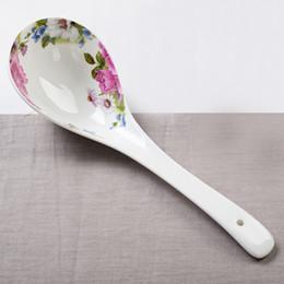 Оптово - настоящий костяной фарфор кухонная ложка, китайский рисовый суп ложку, керамика долго обрабатываются ложка к обеду сервировка, фарфор talheres от
