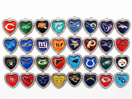 Wholesale Hanging Crystal Glass - Hot selling 32 Mixs Heart White Crystal Glass Football Sports Team Pendant Hanging Dangle Charms for Necklace Bracelet