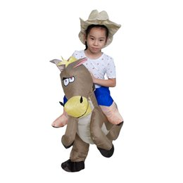 Wholesale Gift Horse Movie - 40 to 50 Inch Tall Kids Gift Animal Halloween Costume for Kids Inflatable Cowboy Ride Horse Children's Day Purim Party Dress