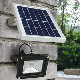 Wholesale Led Home Floodlights - Wholesale- Super Bright Waterproof Outdoor Solar Powered 5M Wire 10W 3528SMD 12leds LED Floodlight with 2200mA Battery for Home Garden