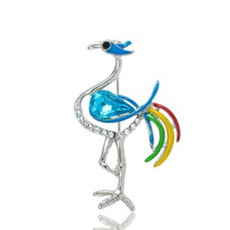 Wholesale Cute Cheap Jewelry Free Shipping - Wholesale- Free Shipping Cute Cock Cheap Brooches for women party Lapel Pins Strass Jewelry Large Animal Broaches X0814