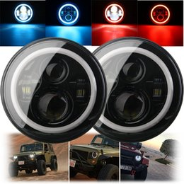 Wholesale Blue H4 - 7 Inch 45 60W Hi-Lo Beam LED Headlight Head Light Lamps H4 - H13 Red Blue Full Halo Angel Eyes For Jeep Wrangler JK TJ LJ 97-15