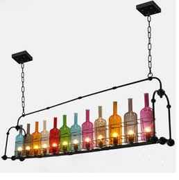 Wholesale counter dining - Industrial air bottle glass chandelier creative personality cafe restaurant bar counter clothing store lighting lamps LLFA