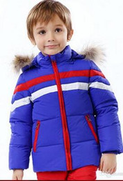 Wholesale Coat Feathers For Kids - 2017Designer Winter Kids Down Coats with Detachable Hooded Baby Thick Stripes Jacket Outerwear for Boys and Girls H008