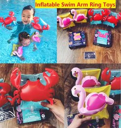 Wholesale Wholesale Crab Rings - Kids Inflatable arm band cartoon swimming armlet flamingo Crab Baby swim rings safty assistive tools Inflatable Float Swim Arm Ring z024