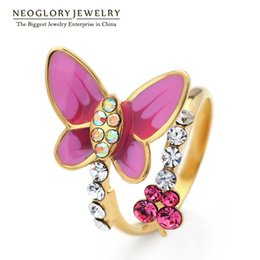 Wholesale Adjustable Butterfly Rings - Neoglory Gold Plated & Platinum Plated Adjustable Butterfly Finger Rings Charm Jewelry Gifts Girls