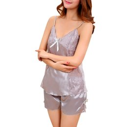 Wholesale Sexy Baby Doll Set - Wholesale- Sexy Nightdress Silk Baby Dolls Sleepwear Lace Lingerie Babydoll Nightdress Nightgown Baby Dolls Women Lingerie Set