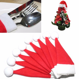 Wholesale mini santa hats - New 6*12CM Christmas Silverware Holder Mini Xmas Tree Santa Claus Hat Christmas Decoration For Home Navidad mini christmas hat